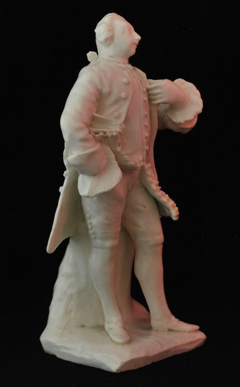 Neoclassical Figure of the Shakespearean Actor David Garrick, Bow Porcelain, circa 1750 For Sale