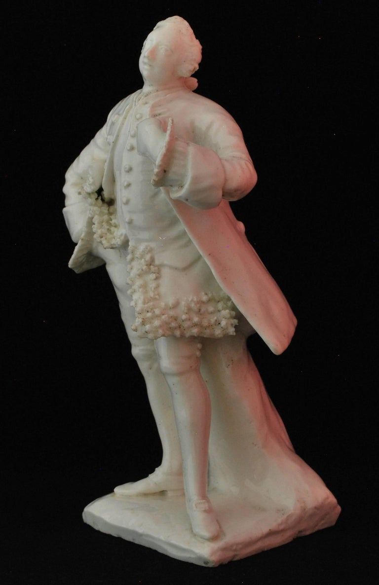 Figure of the Shakespearean Actor David Garrick, Bow Porcelain, circa 1750 For Sale 3
