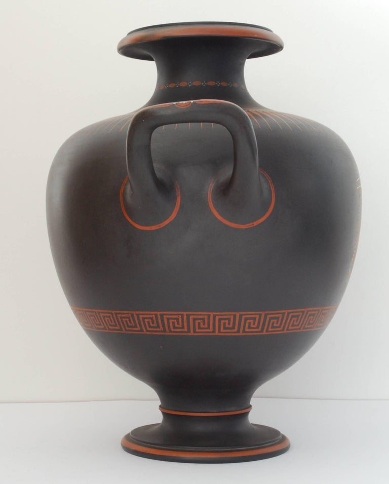 English Encaustic Painted Basalt Vase, Wedgwood, circa 1800 For Sale