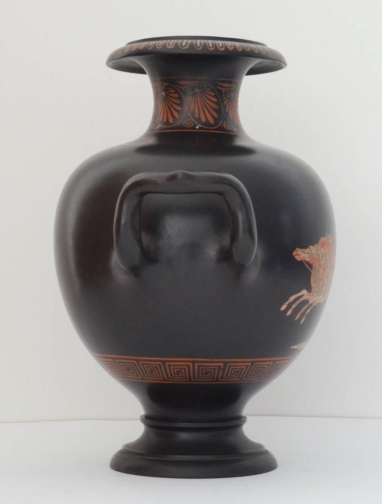 English Encaustic Painted Basalt Vase, Wedgwood, circa 1785 For Sale