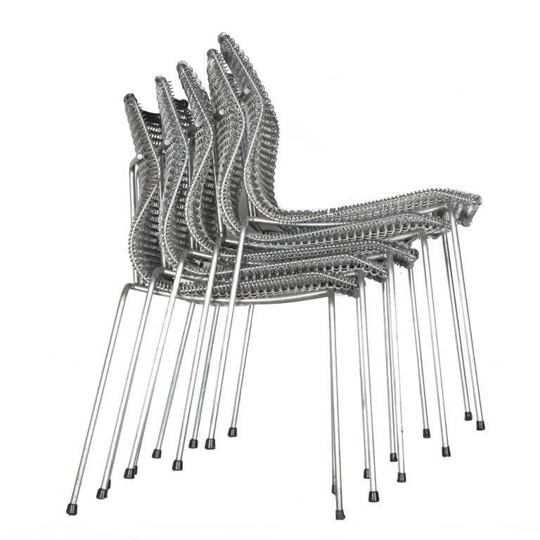 Late 20th Century Niall O'Flynn 't Spectrum Five Rascal Chairs 1997 Galvanized Metal For Sale