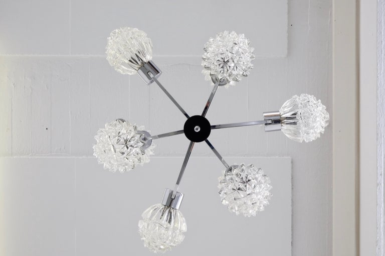 1970s Glass and Chrome Orbit Chandelier For Sale 1