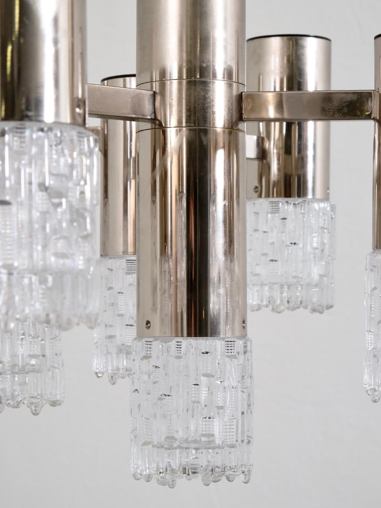 1970s Chrome and Glass Chandelier For Sale 1