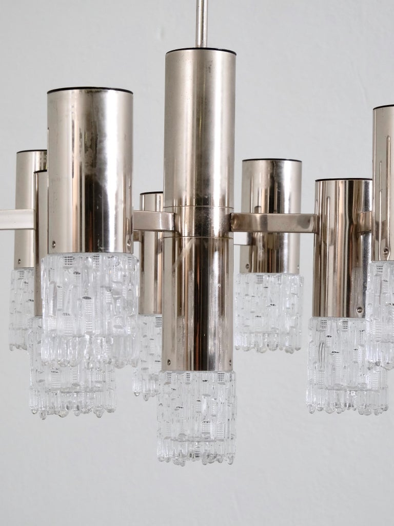 Space Age 1970s Chrome and Glass Chandelier For Sale