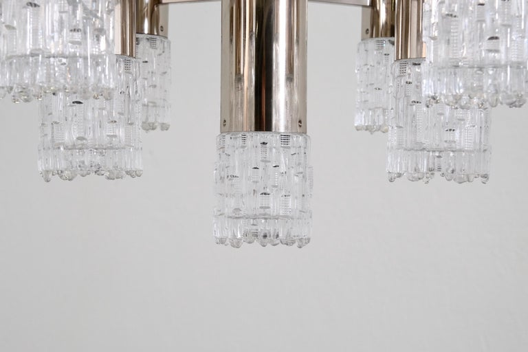 1970s Chrome and Glass Chandelier For Sale 2