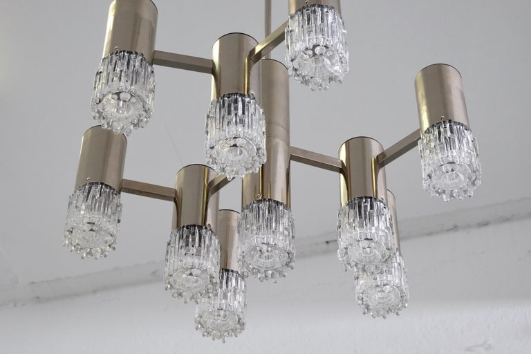 1970s Chrome and Glass Chandelier In Good Condition For Sale In Helsinki, FI
