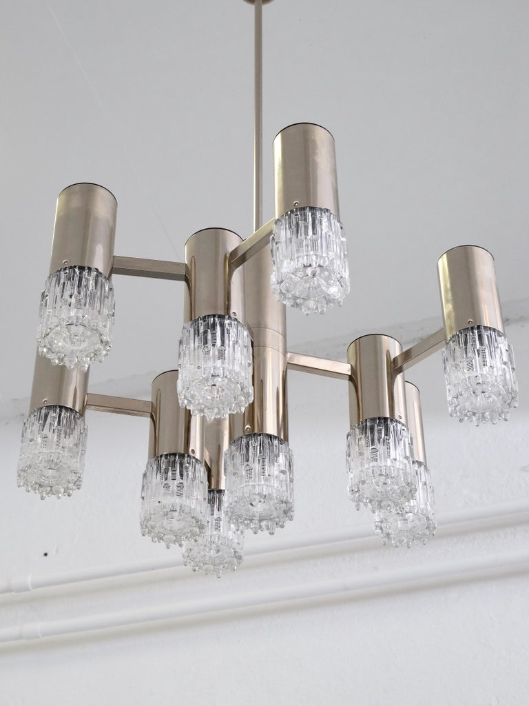 Late 20th Century 1970s Chrome and Glass Chandelier For Sale