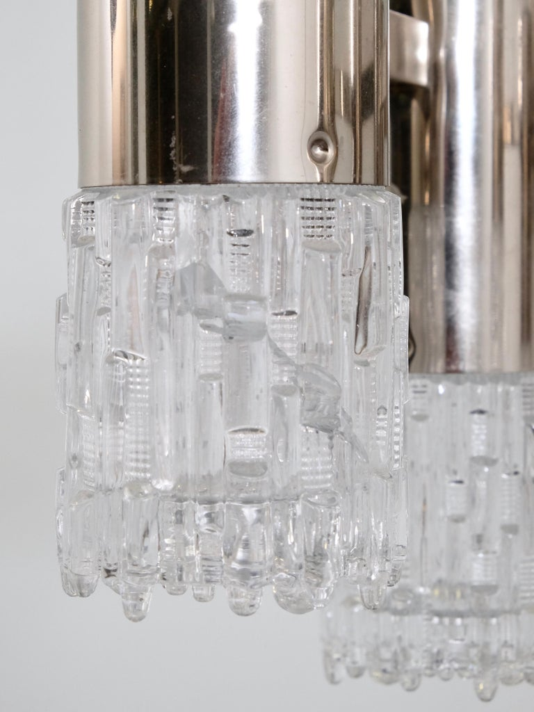 1970s Chrome and Glass Chandelier For Sale 3