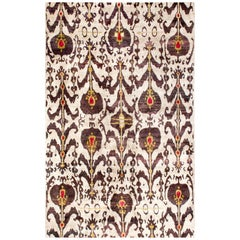Silver Grey Plum Red and Gold Natural Silk Hand-Knotted Ikat Transitional Rug
