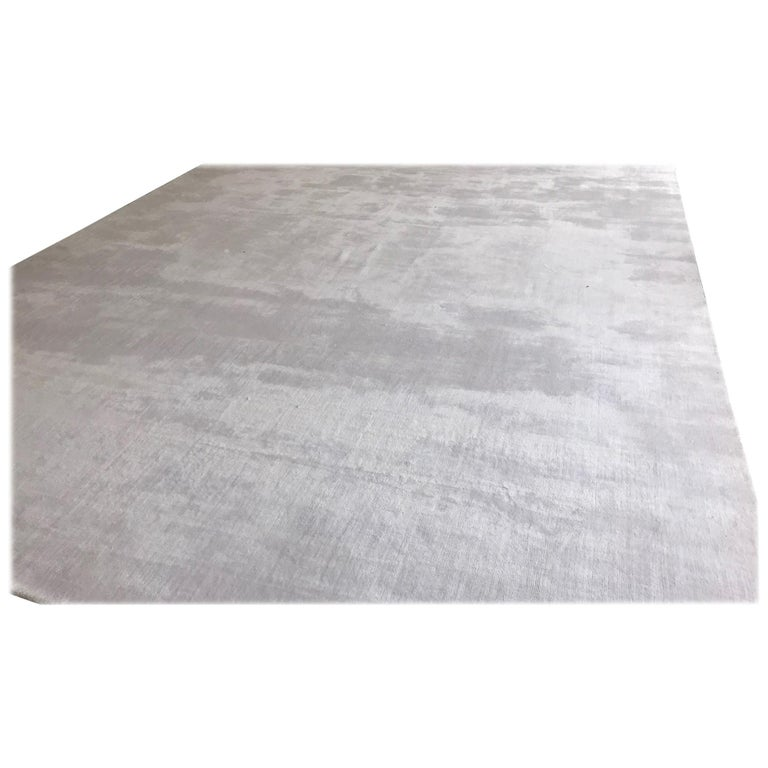 Hand Loomed Shine Rug Gray: White Rug, Hand-Loomed, Solid Color, Soft Finish, With