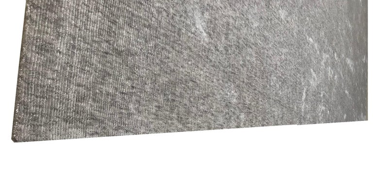 Modern Solid Silver Gray Rug, Hand-Loomed, Hi Low, Stripe Bamboo Silk, Berlin For Sale