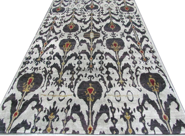 Revival Silver Grey Plum Ikat Silk Hand-knotted Rug in Stock For Sale