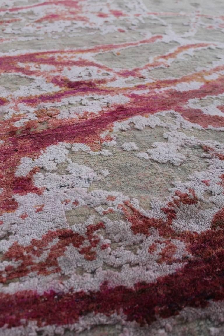 The Odyssey collection A breakthrough, three dimensional and multi textural rug collection, inspired by NASA imagery. Distressed wool and natural silk are hand-knotted to create three levels of visual and tactile finery. The collection pairs vintage