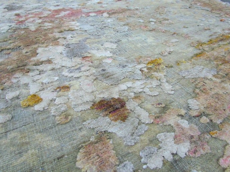 Contemporary Gold Copper Beige Grey Textured Hand-Knotted Abstract Celestial Gallery Rug For Sale