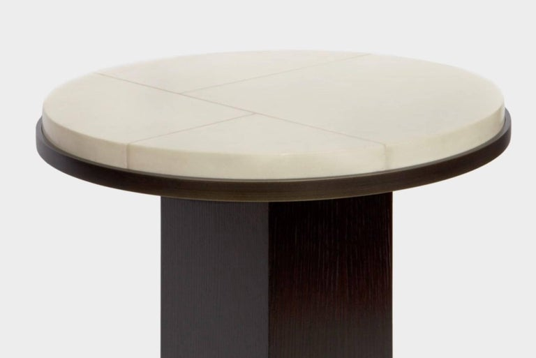 Minimalist Sculptural Parchment and Oak Table with a Detailed Brass Ring by Aguirre Design For Sale