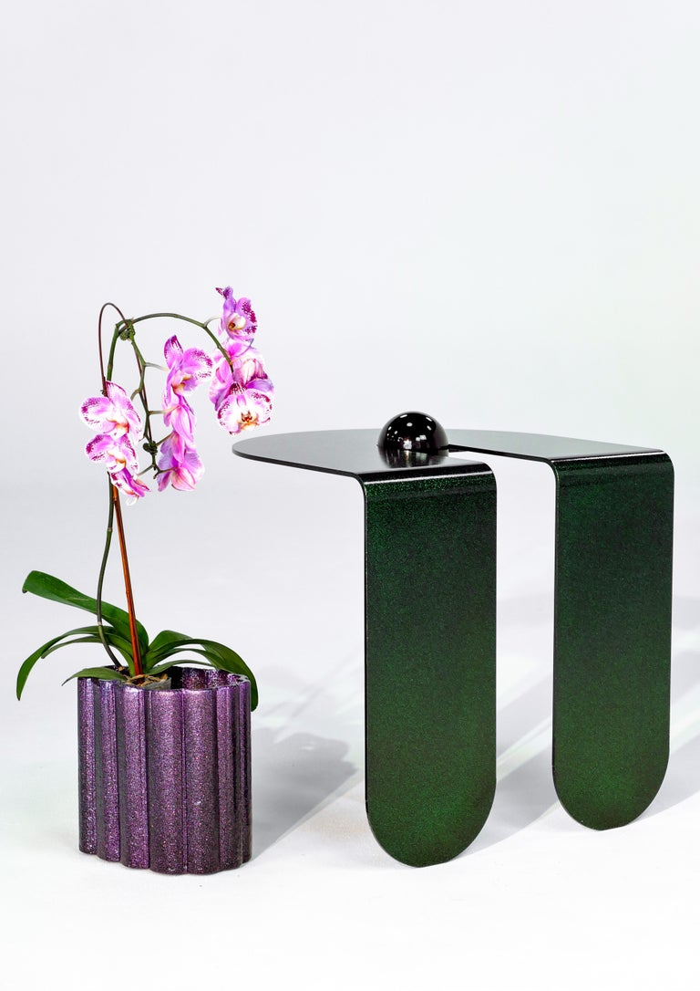 Aluminum Playful Geometric Side Table by Birnam Wood Studio and Suna Bonometti For Sale