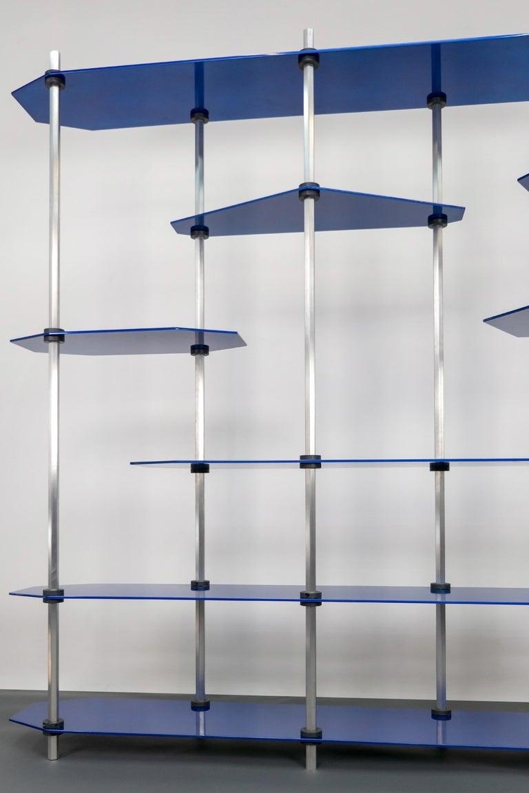 Other Tall Hex Shelving in Metallic Blue Glaze. Modular Aluminium Bookshelf. For Sale