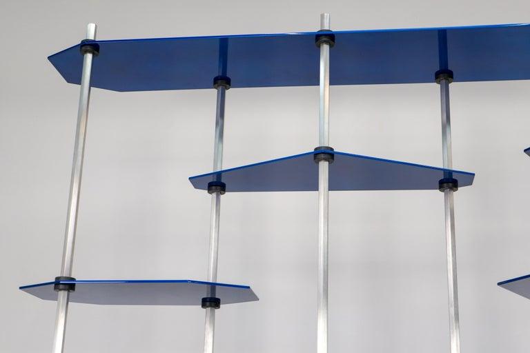 Tall Hex Shelving in Metallic Blue Glaze. Modular Aluminium Bookshelf. For Sale 6
