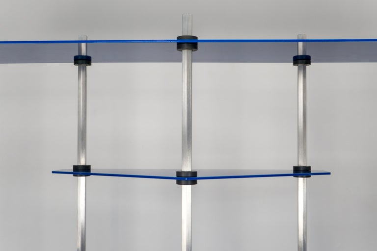 American Tall Hex Shelving in Metallic Blue Glaze. Modular Aluminium Bookshelf. For Sale