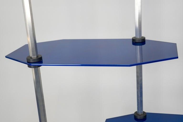 Tall Hex Shelving in Metallic Blue Glaze. Modular Aluminium Bookshelf. For Sale 3