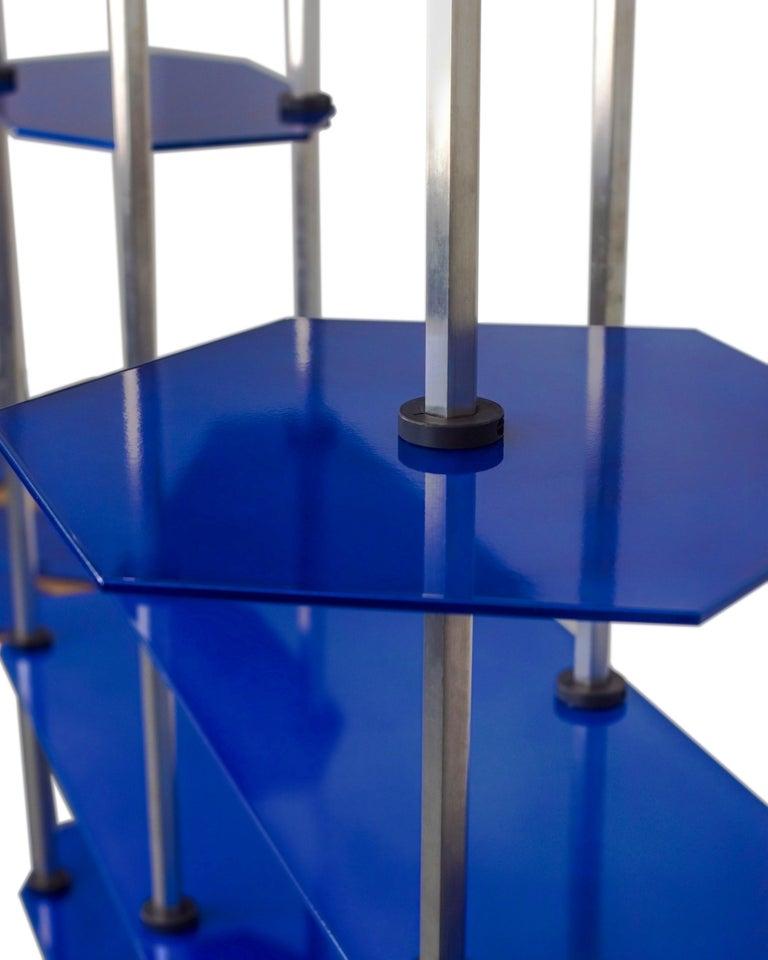 Tall Hex Shelving in Metallic Blue Glaze. Modular Aluminium Bookshelf. For Sale 2