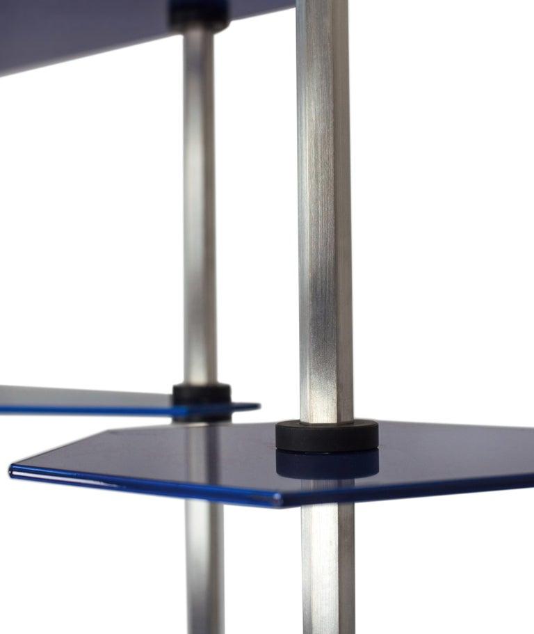Contemporary Tall Hex Shelving in Metallic Blue Glaze. Modular Aluminium Bookshelf. For Sale
