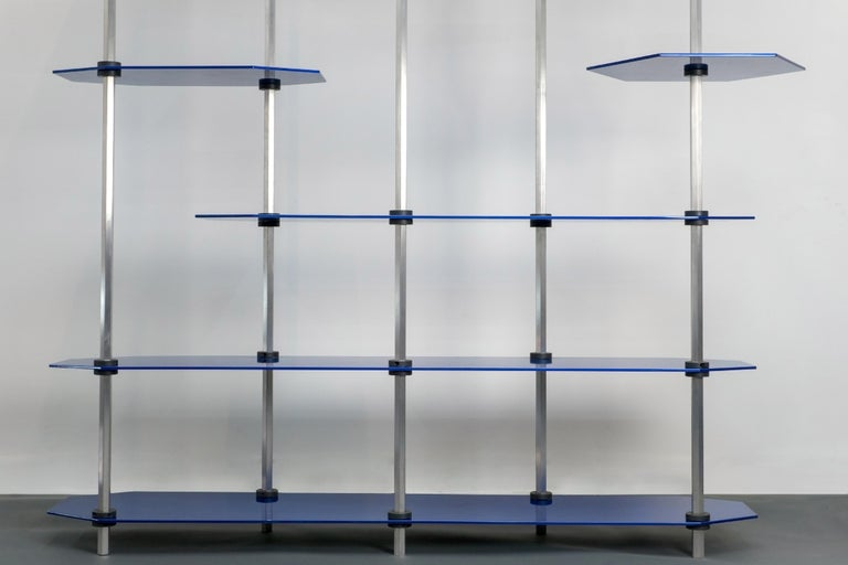 Tall Hex Shelving in Metallic Blue Glaze. Modular Aluminium Bookshelf. For Sale 5