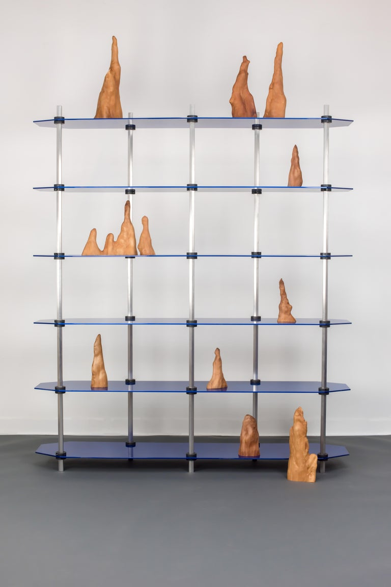 Tall Hex Shelving in Metallic Blue Glaze. Modular Aluminium Bookshelf. In New Condition For Sale In Ridgewood, NY
