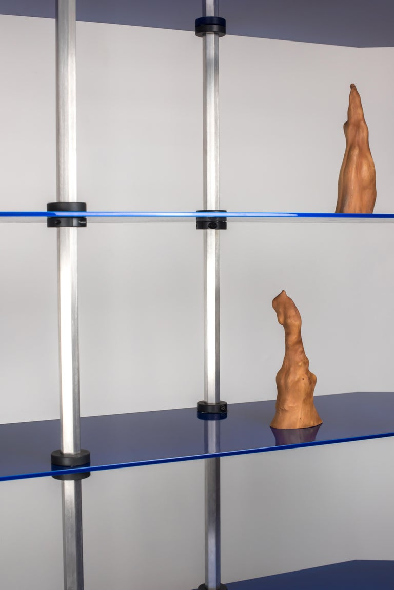 Brushed Tall Hex Shelving in Metallic Blue Glaze. Modular Aluminium Bookshelf. For Sale