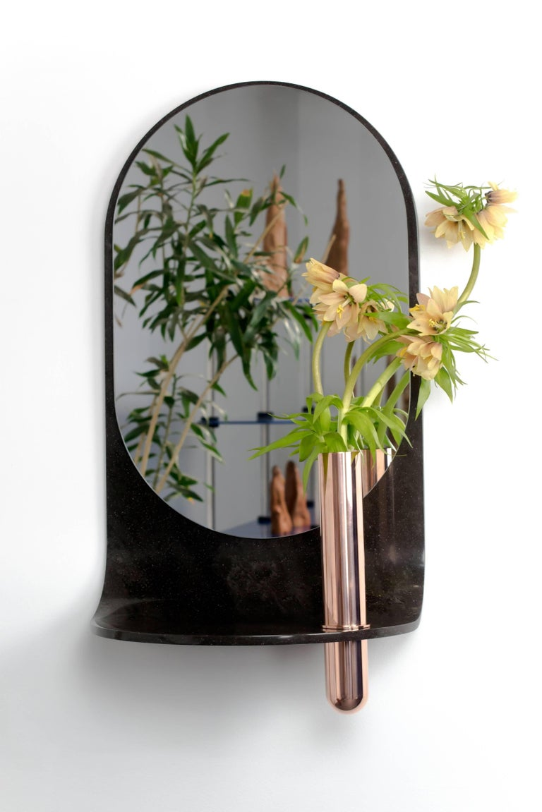 Stone Wall Mirror with Copper Vase and Shelf In New Condition For Sale In Ridgewood, NY