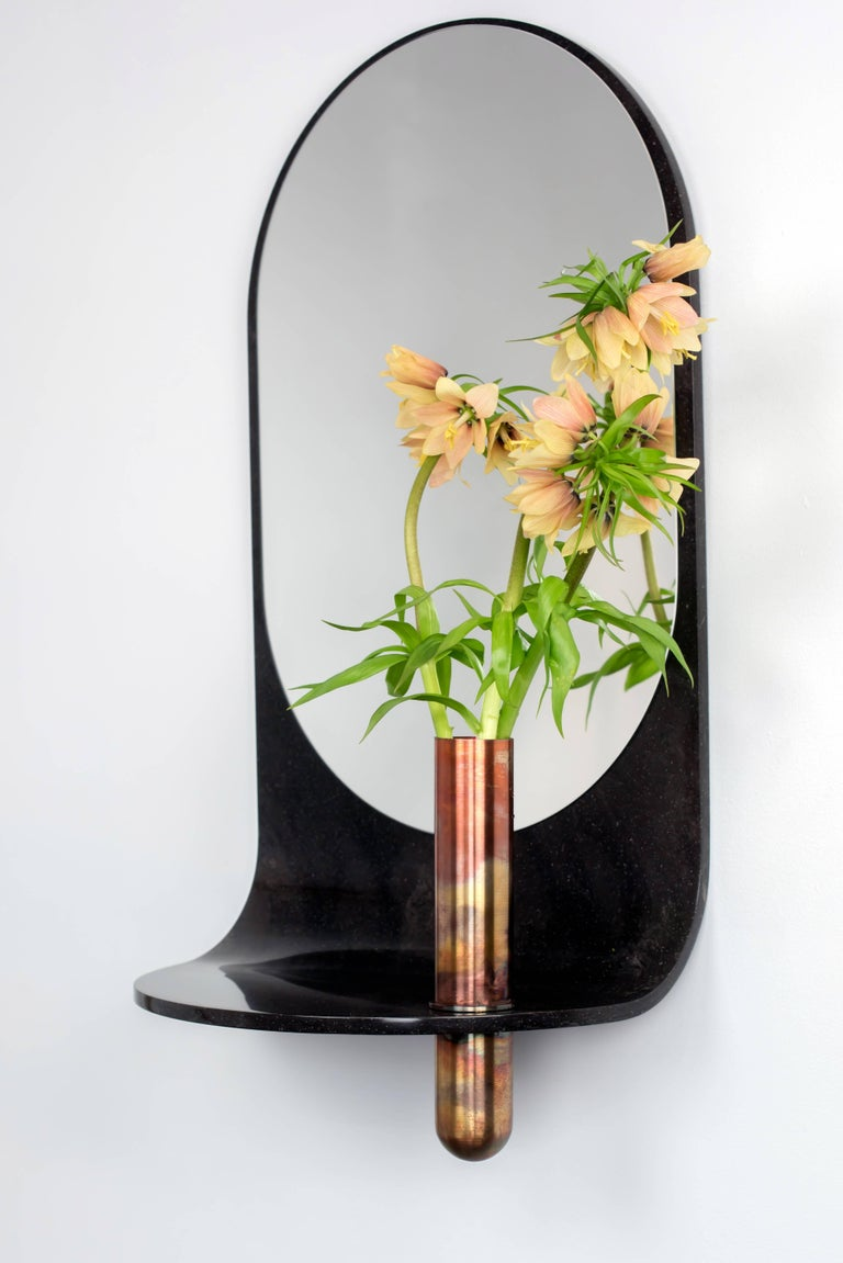 Stone Wall Mirror with Copper Vase and Shelf For Sale 2