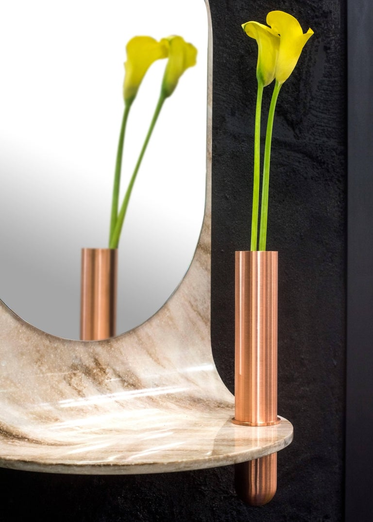 American Stone Wall Mirror with Copper Vase and Shelf For Sale