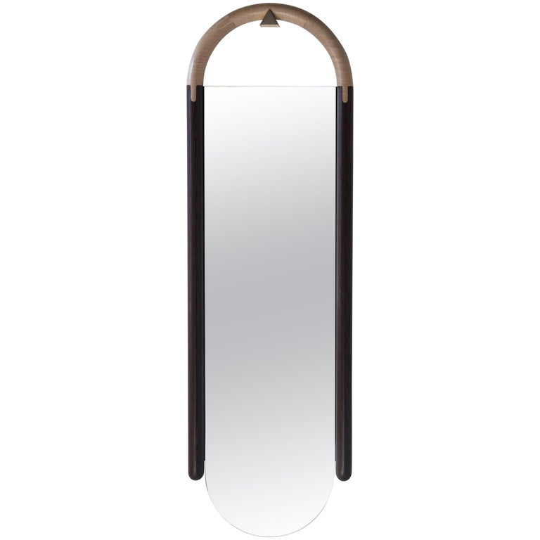 Polished Halo Mirror Wall Mounted Birnam Wood Studio in Cherry and Curly Maple For Sale
