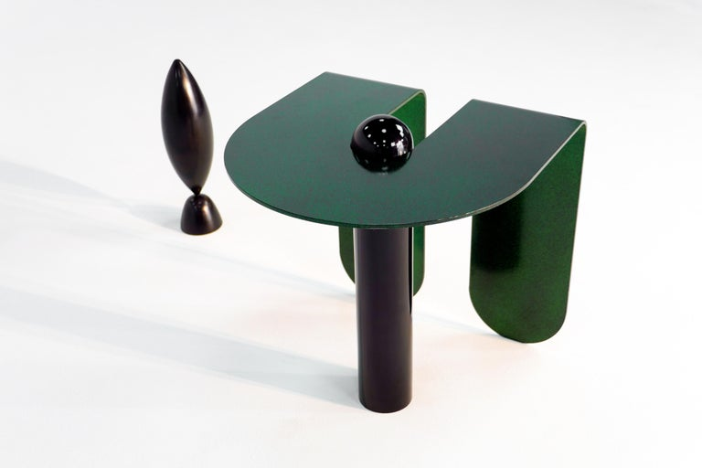 Playful Geometric Side Table by Birnam Wood Studio and Suna Bonometti For Sale 1