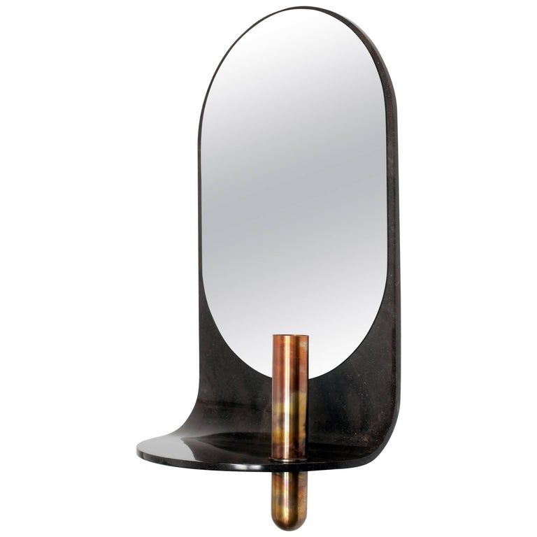 Copper Curved Stone Wall Mirror with Bronze Vase For Sale