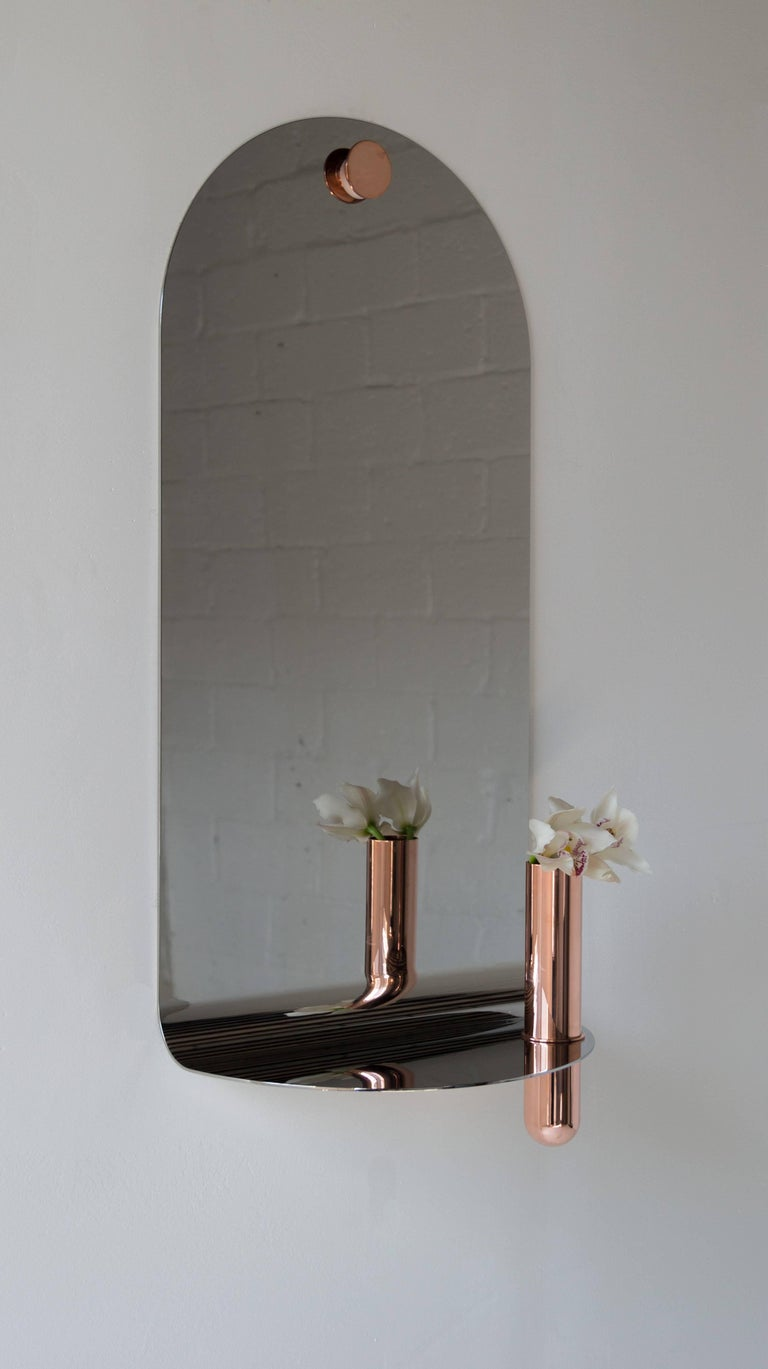 Contemporary Polished Stainless Mirror with Brushed Brass Vase by Birnam Wood Studio For Sale