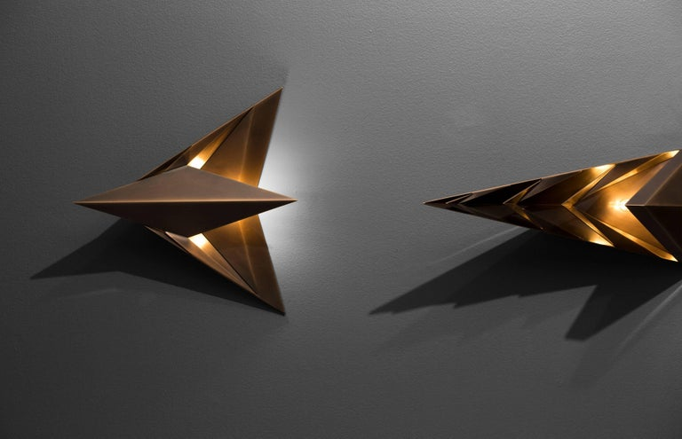 Faceted Parenthetical Light, Bronze Wall Sconce Trio by Force/Collide For Sale