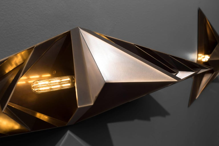 Faceted Parenthetical Light Centerpiece, Bronze Wall Sconce, by Force/Collide For Sale