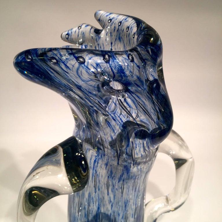 Mid-Century Modern Dino Martens Murano Artistic Blown Glass 'Tree' Blue Vase, circa 1950 For Sale