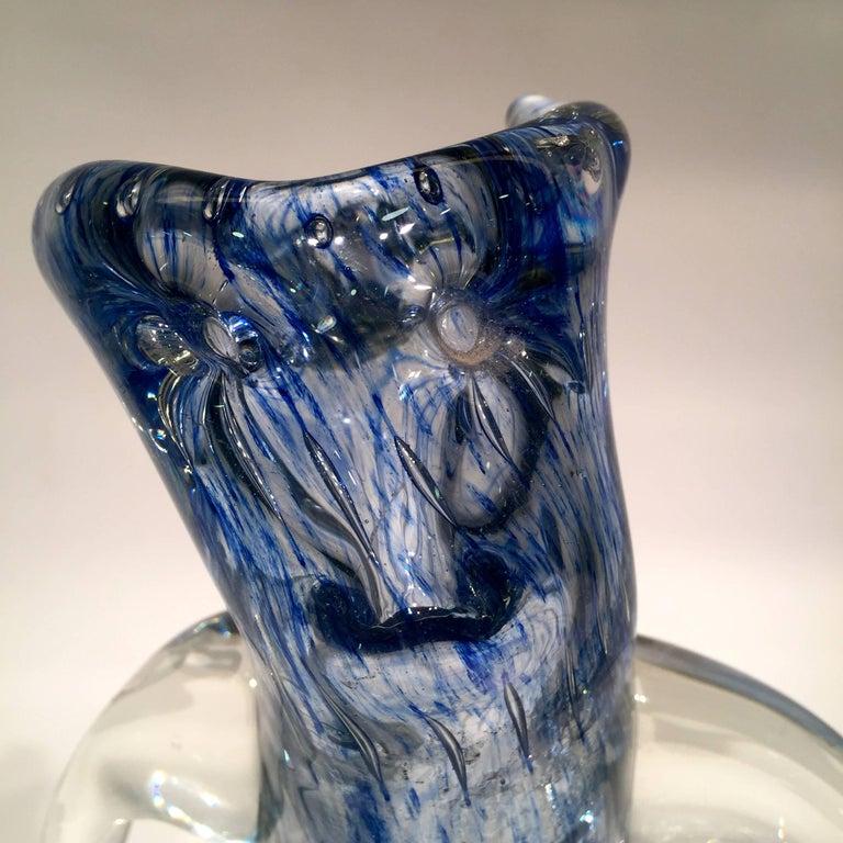 Italian Dino Martens Murano Artistic Blown Glass 'Tree' Blue Vase, circa 1950 For Sale