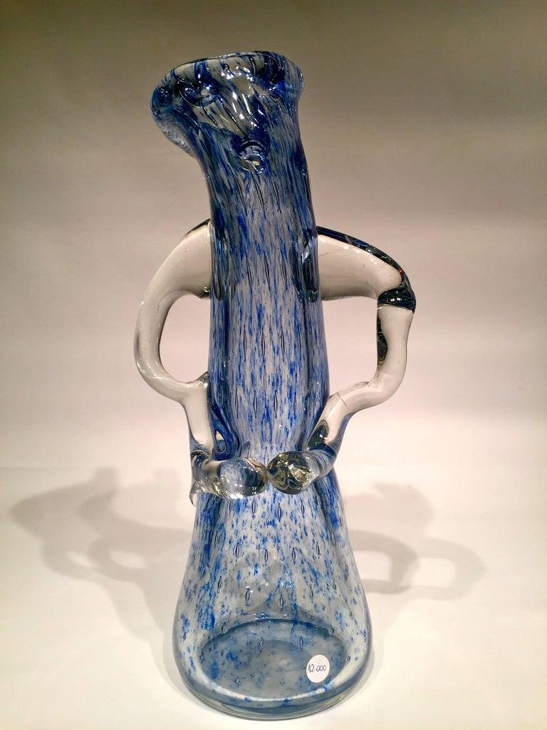 Mid-20th Century Dino Martens Murano Artistic Blown Glass 'Tree' Blue Vase, circa 1950 For Sale