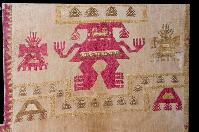 Hand-Woven Pre-Columbian Lambayeque Textile Ceremonial Panel For Sale