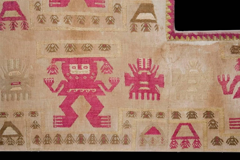 Impressive pre-columbian Lambayeque textile ceremonial panel. Lambayeque, Peru. Mint condition. Museum piece. Ex. Sotheby's, New York.  The Lambayeque civilization (aka Sicán) flourished between circa 750 and 1375 CE on the northern coast of Peru,