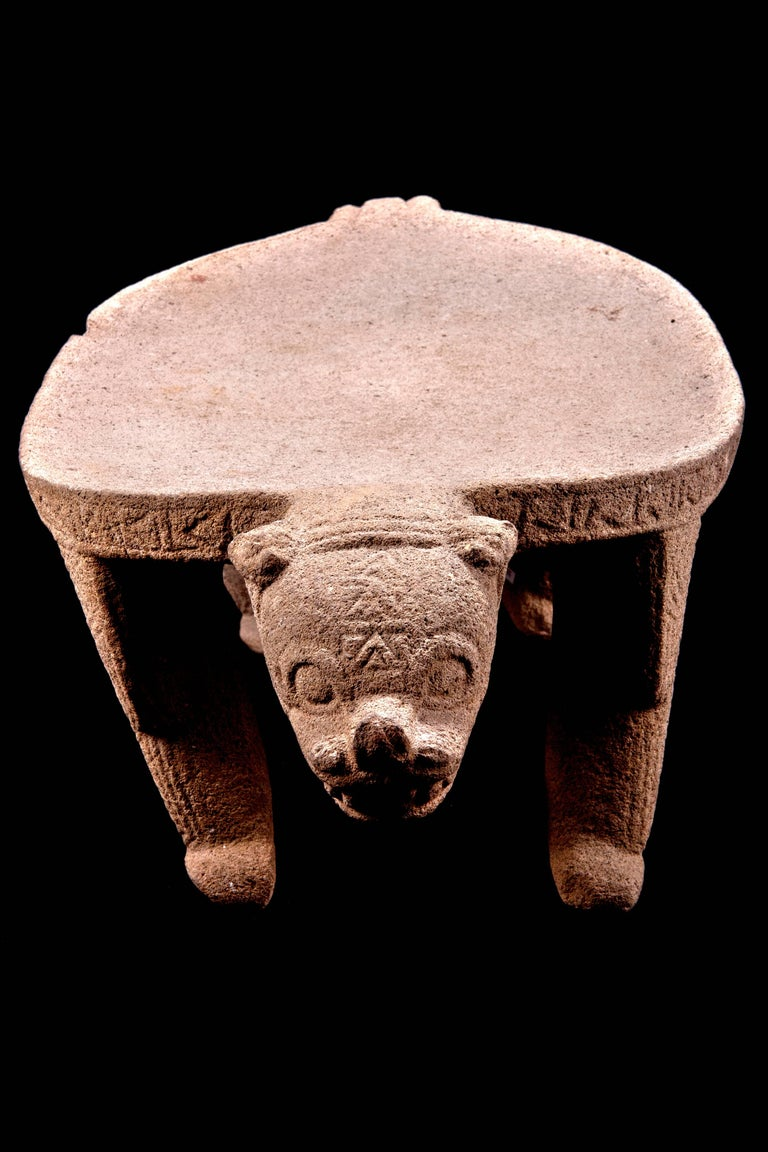 18th Century and Earlier Published Pre-Columbian Nicoya Ceremonial Stone Seat, Ex Arizona Museum For Sale