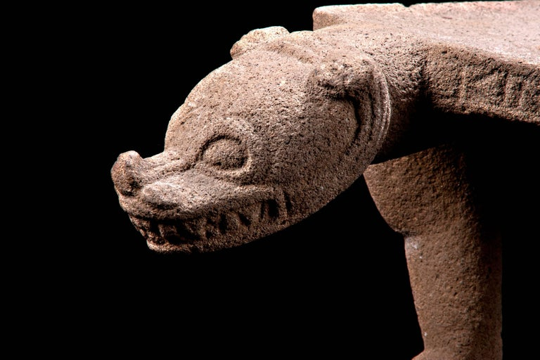 Nicoya Ceremonial Basalt Stone Seat in Shape of a Jaguar. Published in the Arizona Museum.   This large and finely carved example of Costa Rican skill and craftsmanship is in the form of a jaguar which may have been a lineage or clan symbol - as