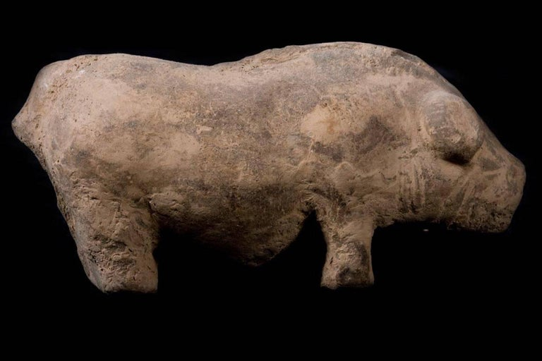 Terracotta Han Dynasty Farm with Pig, China, 200 BC For Sale 4