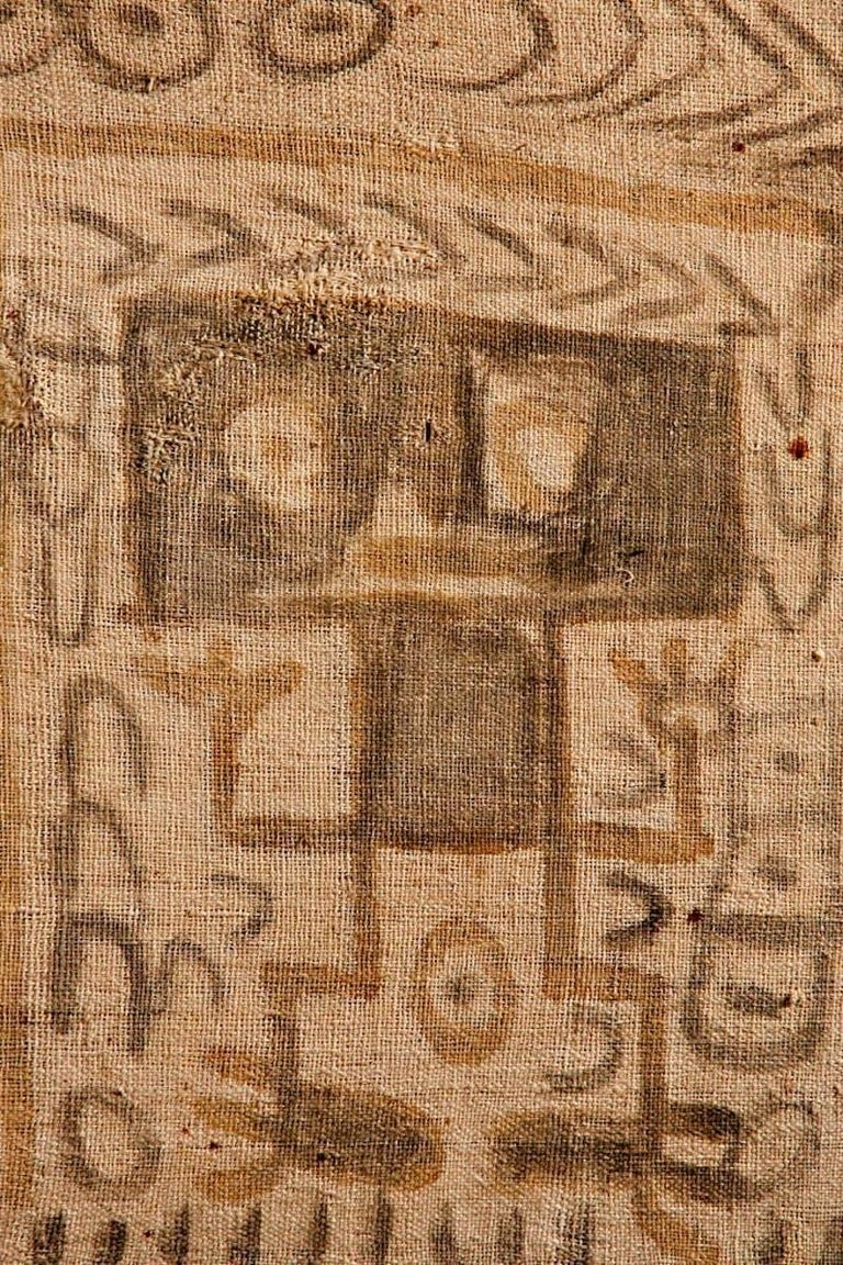 Pre-Columbian Chancay Painted Panel with Two Figures Side by Side In Excellent Condition For Sale In San Pedro Garza Garcia, Nuevo Leon