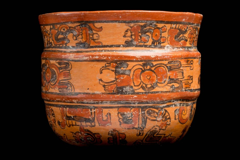 Terracotta Mayan Ulua Valley Banded Vessel, Ex-Andy Warhol For Sale