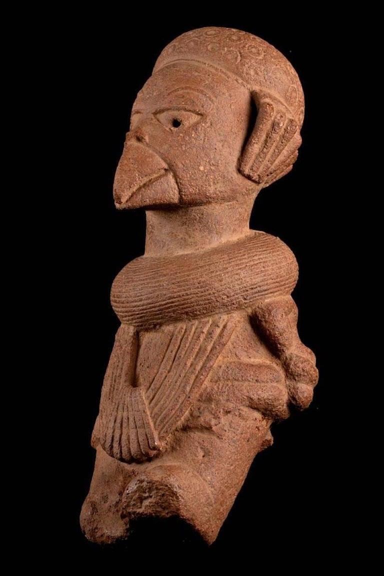 Primitive Rare Nok Terracotta Shaman in Bird Costume, Nigeria, Africa, 300-100 BC For Sale