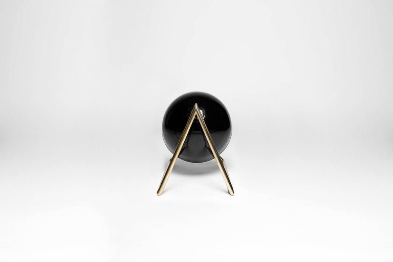 Mexican Cosmic Inspired Brass and Lacquer Table Lamp by Nomade Atelier For Sale
